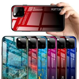 For Apple iPhone 11 Pro Max Marble Pattern Tempered Glass Ba