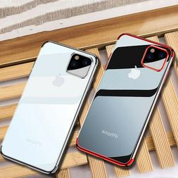 For Apple iPhone 11 Pro Max Shockproof Plating Clear Silicon