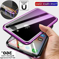 For Apple iPhone Front+Back Glass Magnetic Case Cover - Xs M