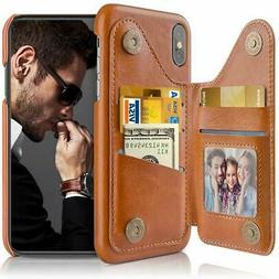 Brown iPhone Xs Max Wallet Case Leather Flip Card Pockets Fo
