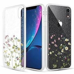 Caka Clear Case for iPhone XR Floral Glitter Clear Case