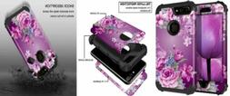 Lontect Compatible iPhone 8 Plus Case Floral 3 in 1 Heavy Bl