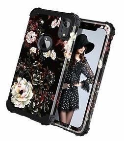 LONTECT Compatible iPhone Xr 2018 Case Floral 3 in 1 Heavy D