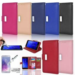 Glass Screen Protector / Double Flap Leather Wallet Case For