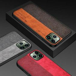 For iPhone 11 Pro Max Hybrid Fabric Canvas Cloth Leather Sof
