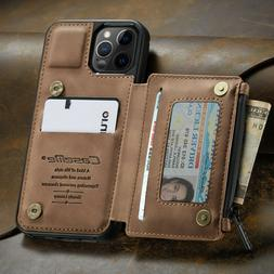 FOR iPhone 12/11 Pro Max Leather Wallet with Zipper Magnet F