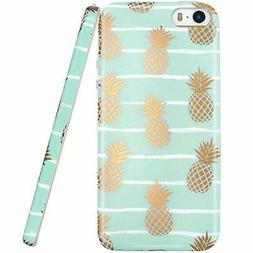 JAHOLAN iPhone 5 Case, iPhone 5S case, Shiny Gold Pineapple