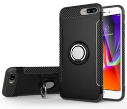 For iPhone 8 Plus Kickstand Case Ring Holder Magnetic Car Fe