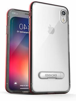 iPhone XR Clear Case, Slim Transparent Kickstand Cover  Red
