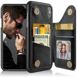 iPhone Xs Max Wallet Case Leather Card Holder Folio Flip Bac
