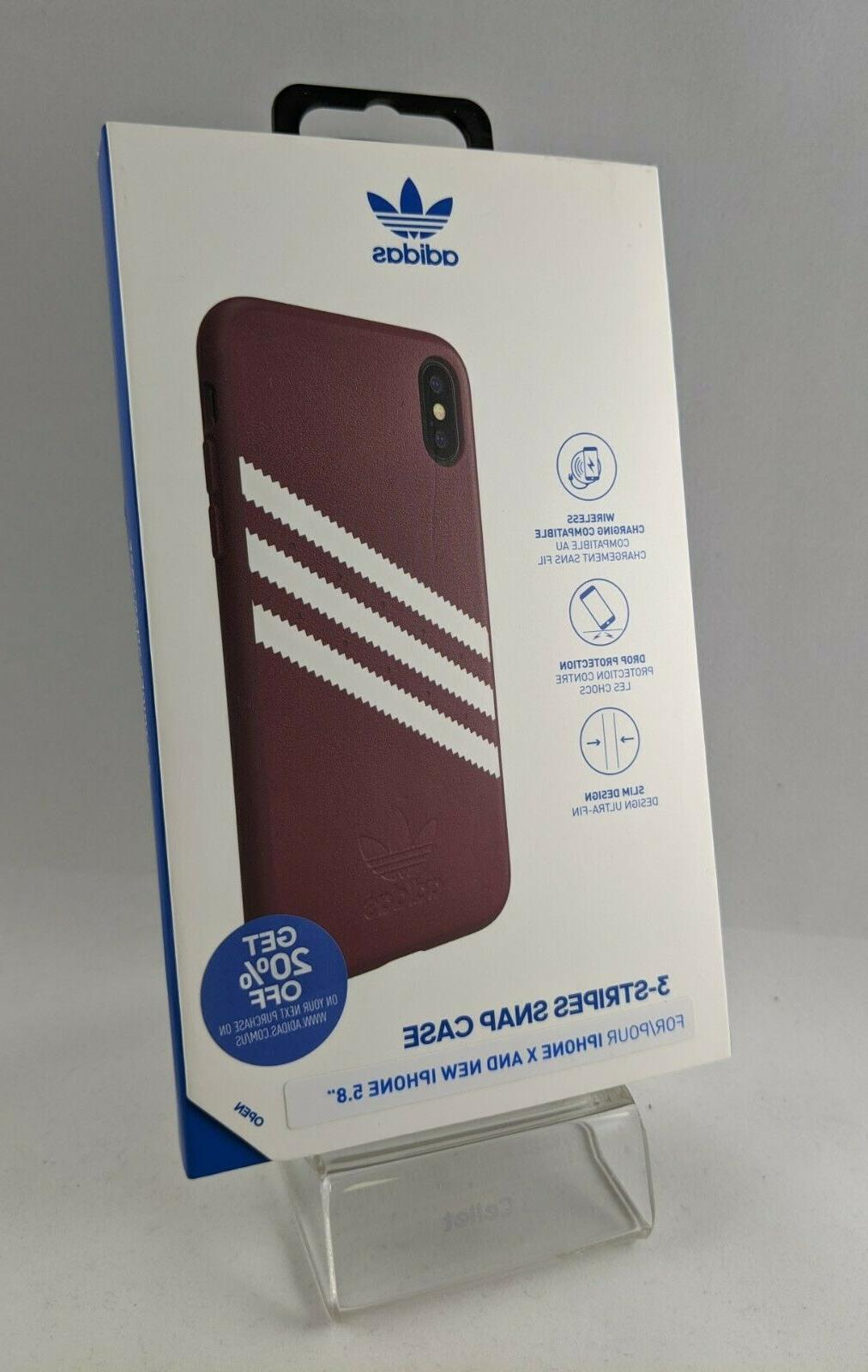 Adidas 3 Stripes Case for X / XS Black 5.8 Faux New