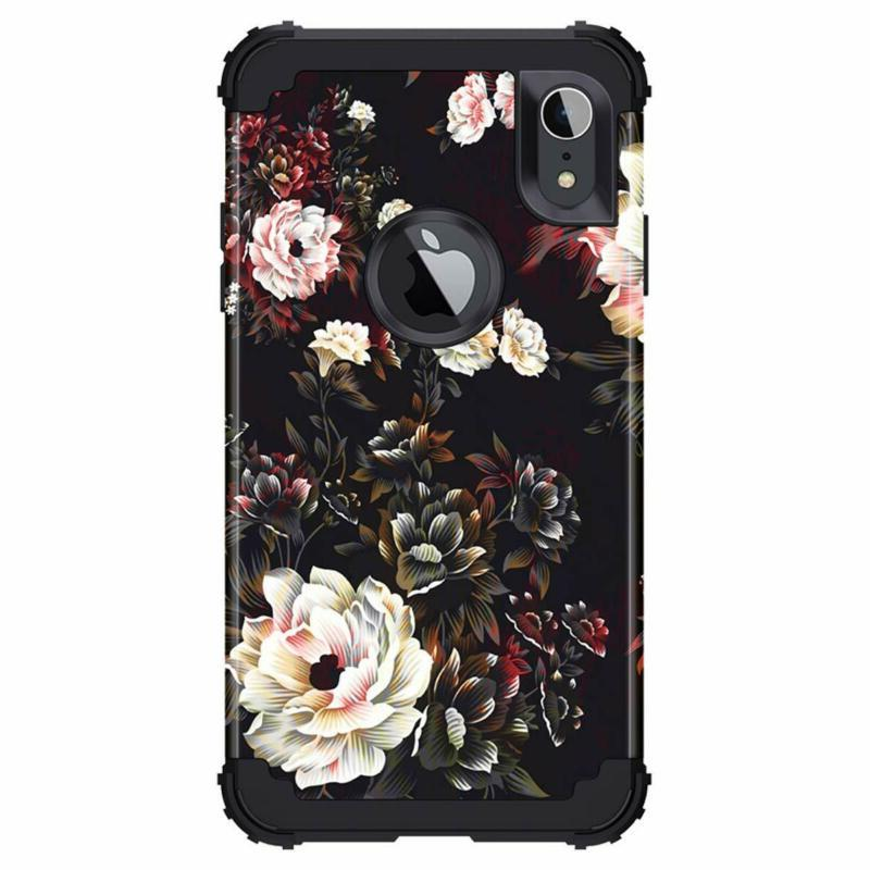 Lontect Compatible Iphone 2018 Case Floral In 1 Hybrid Sturdy