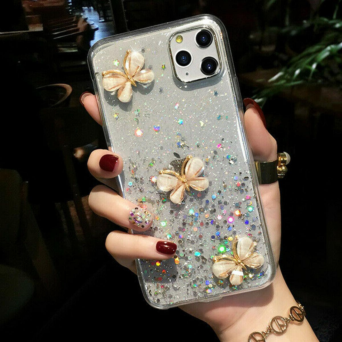 glitter sparkle butterfly clear case cover f