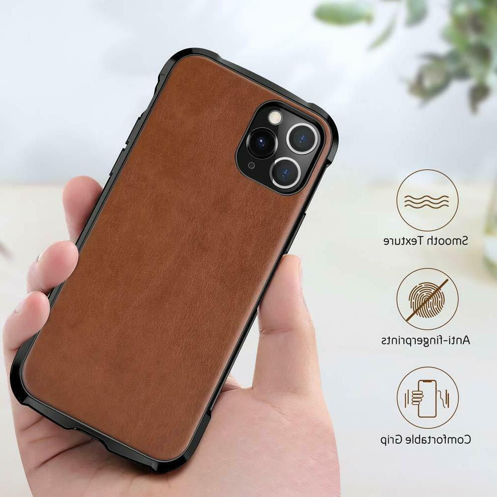 iPhone 11 Pro Max Case Leather Bumper Shockproof Scratch Res