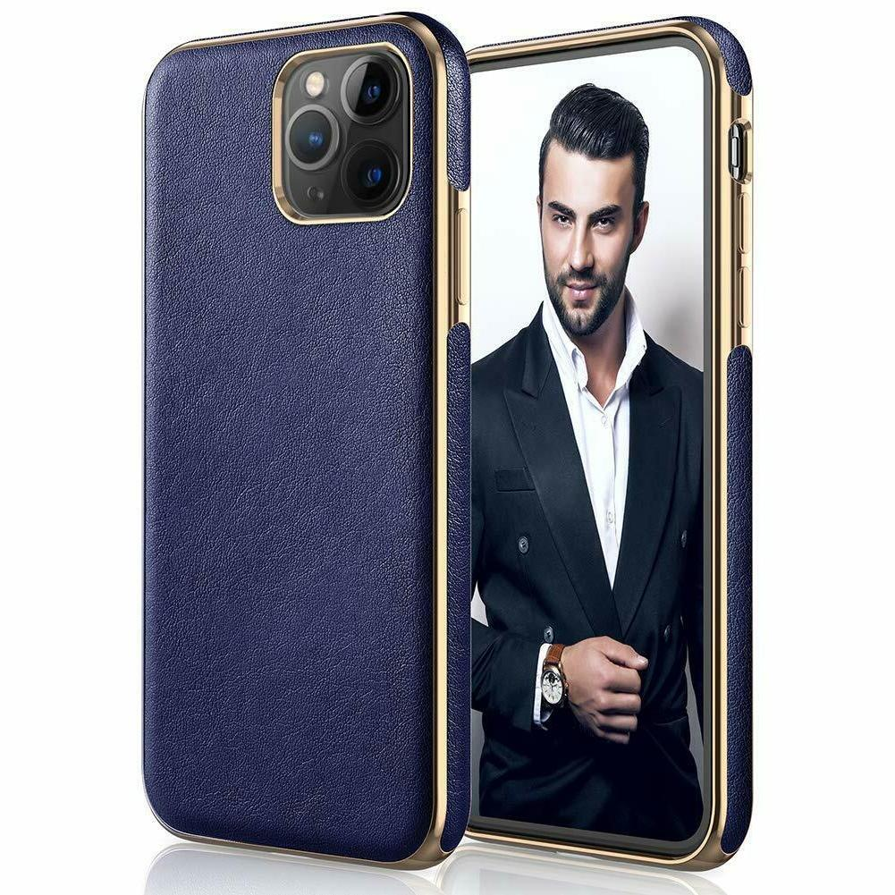 iPhone 11 Max Case Slim Leather Shockproof Bumper Navy