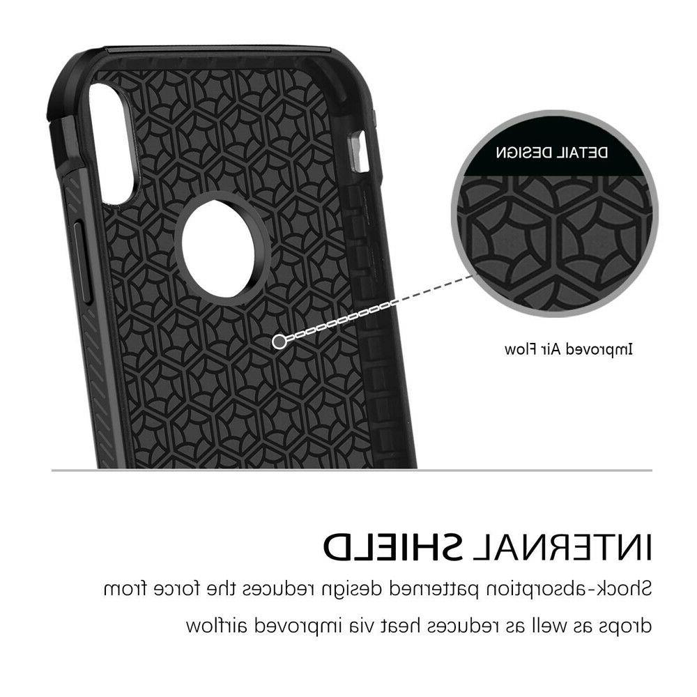 For iPhone Max/XR/X/8/7/Plus Carbon Fiber Hard Glass