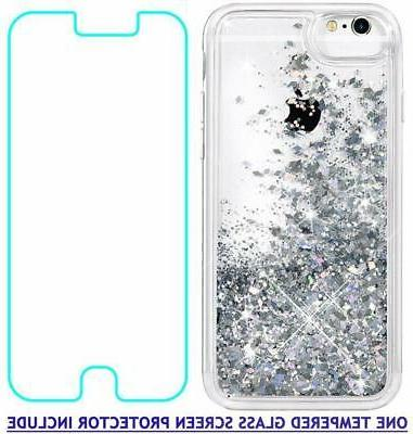For iPhone 7 For iPhone 6S Glitter with Tempered Screen