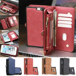 Leather Removable Wallet Magnetic Flip Card Case Cover For i
