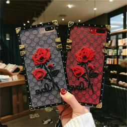 Square Case for iPhone 12 11 Pro XS X Samsung Note20 Embroid